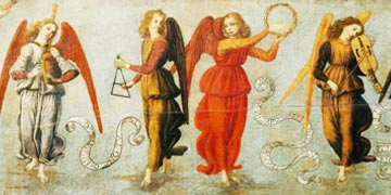 Angels playing musical instruments di Francesco Botticini