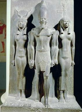 Triad of Menkaure (Mycerinus) with the goddess Hathor and the goddess of the Aphroditopolis nome, ta