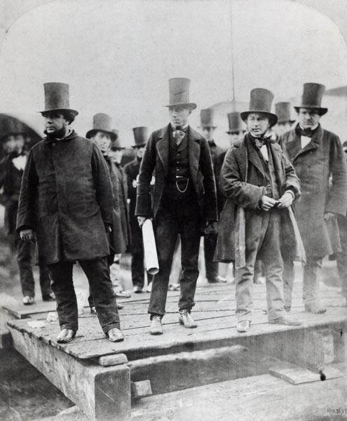 (L to R) John Scott Russell, Henry Wakefield, Isambard Kingdom Brunel and Lord Derby at the launch o