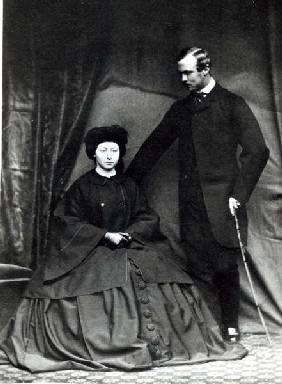 Princess Alice and Prince Ludwig of Hesse, 1860 (b/w photo)