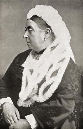 Queen Victoria (1819-1901) at the age of sixty-six, c.1885 (b/w photo)