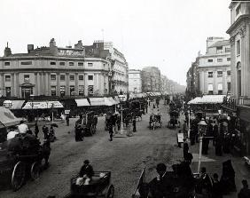 View down Oxford Street, London, c.1890 (b/w photo)