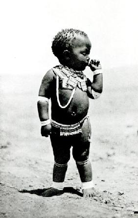 Zulu Girl Sucking First Finger (b/w photo)