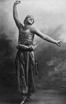Vaslav Nijinsky in the role of the Black Slave from ''Scheherazade'', 1910 (b/w photo)