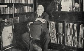 Edmond de Goncourt (1822-96) in his study (b/w photo)