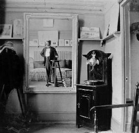 Portrait of a photographer in the studio of Henri de Toulouse-Lautrec (1864-1901) (b/w photo)