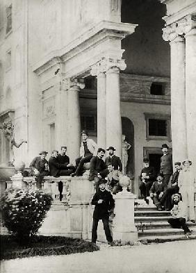 Residents of Villa Medici in Rome, photo sent and dedicated by Claude Debussy (1862-1918) to his par