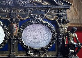 The Farnese Chest, detail of oval inlay depicting the Triumph of Bacchus, Sebastiano Sbarri (fl.1548