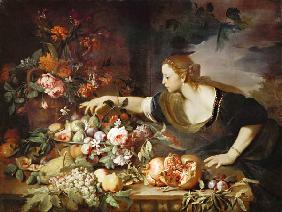 Woman taking fruit