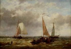 Fishing Boats at Sea (panel)