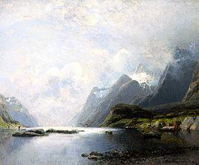 Fiord landscape with steamships and sailing boats