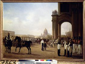 Parade at the Palace Square in St. Petersburg
