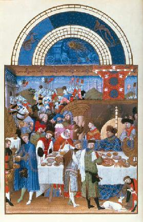 Fascimile of January: banquet scene the Limbourg brothers, from the ''Tres Riches Heures du Duc de B