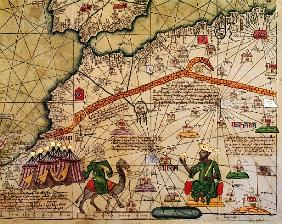Detail of Copy of a Catalan Map of Europe and North Africa, presented to Charles V of France in 1381