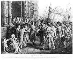 Deputies of the National Convention leaving the Assembly at the Tuileries, 31st May 1793; engraved b