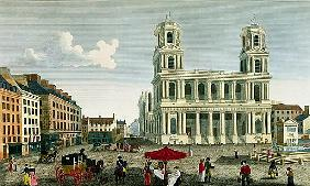 View of the Church of Saint-Sulpice; engraved by Anne Rosalie Filleul (nee Bouquet) (1752-94)