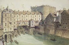 View of Petit Chatelet and the Petit Pont in 1717, illustration from ''Paris Through The Ages'' ; en