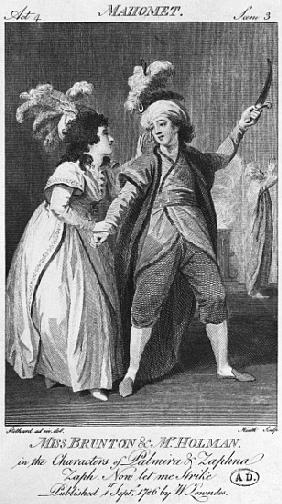 Miss Brunton and Mister Holman as Palmira and Zaphna, illustration from Act IV, Scene 3, of ''Le Fan