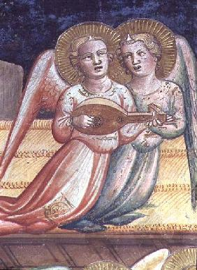 Two Musical Angels, a detail from The Life of the Virgin and the Sacred Girdle, from the Chapel of t