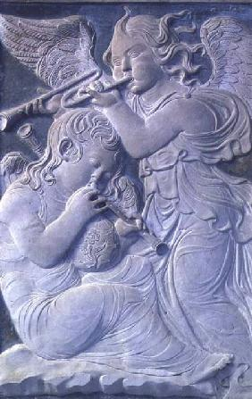 Two putti, one playing the cornamuse, the other playing the trumpet, from the frieze of musical ange