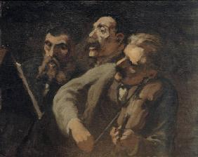 H.Daumier / Trio of Music Lovers / C19th