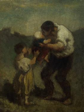 The kiss or Father a.child/Daumier/C19th