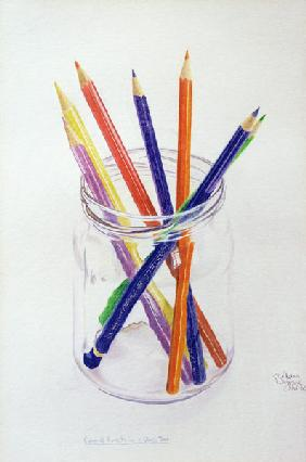 Coloured Pencils in a Jar, 1980 (coloured pencil on paper)
