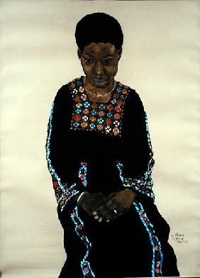 Black Woman, 1980 (gouache, charcoal and w/c on paper)