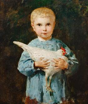 Maurice Anker with chicken