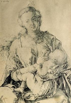 Virgin Mary suckling the Christ Child, 1512 (charcoal drawing)