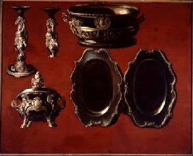 Painting of tureen, dishes and candlestick