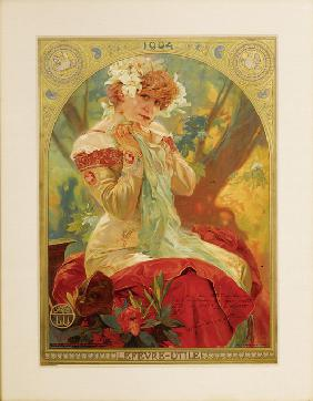 "Poster for Lefèvre-Utile. Sarah Bernhardt in the role of Melissinde in ""La Princesse Lointaine"" by E"