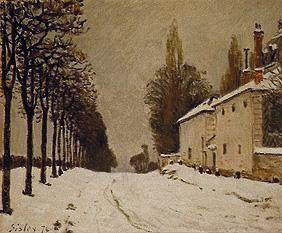 Snow-covered Strasse at Louveciennes.
