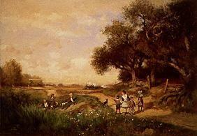 Landscape with children and approaching train