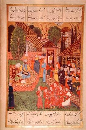 A Janissary officer recruiting devsirme for Sultan Suleyman I (1495-1566), from the 'Suleymanname' (