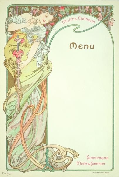 Moet & Chandon menu - Alphonse Mucha