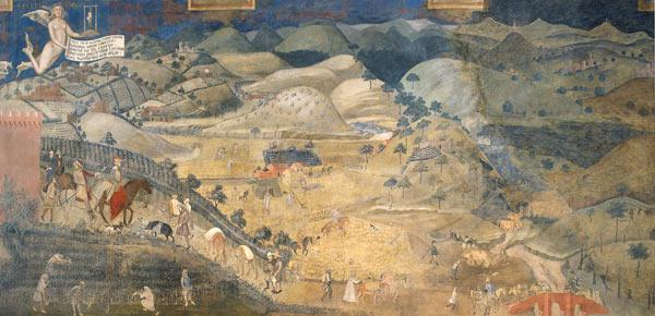 Effects of Good Government in the countryside (Cycle of frescoes The Allegory of the Good and Bad Go