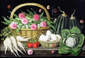 Eggs, broad beans and roses in basket