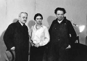 Albert Kahn, Frida Kahlo and Diego Rivera in the mural project studio at the Detroit Institute of Ar