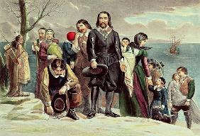 The Landing of the Pilgrims at Plymouth, Massachusetts, December 22nd 1620 published by  Currier & I