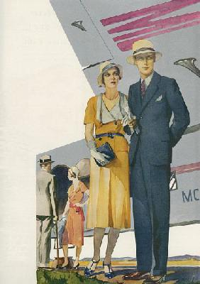 1920s Couple About to Board a Commercial Flight