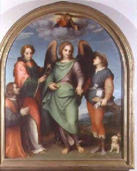 Archangel Raphael with Tobias, St. Lawrence and the donor Leonardo di Lorenzo Morelli, altarpiece