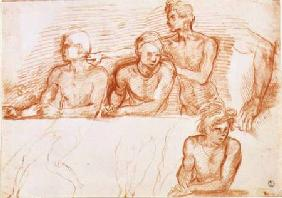 Study of four male figures