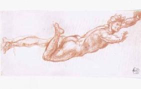 Study of a man nude suspended by his right leg (chalk on paper)