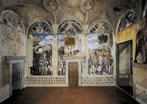 Camera degli sposi west wall andrea mantegna for Camera picta mantova
