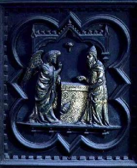 The Angel Announces to Zechariah, first panel of the South Doors of the Baptistery of San Giovanni