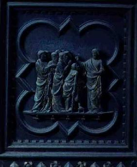 The Disciples Visit Jesus, fourteenth panel of the South Doors of the Baptistery of San Giovanni