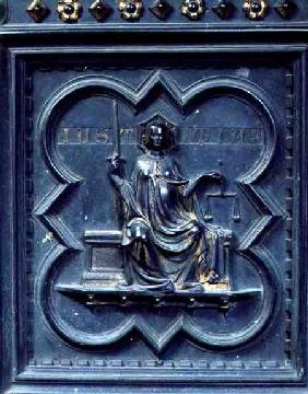 Justice, panel G of the South Doors of the Baptistery of San Giovanni
