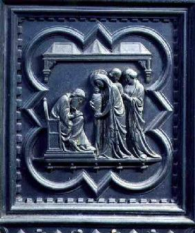 Zechariah Writes the Boy's Name, fifth panel of the South Doors of the Baptistery of San Giovanni