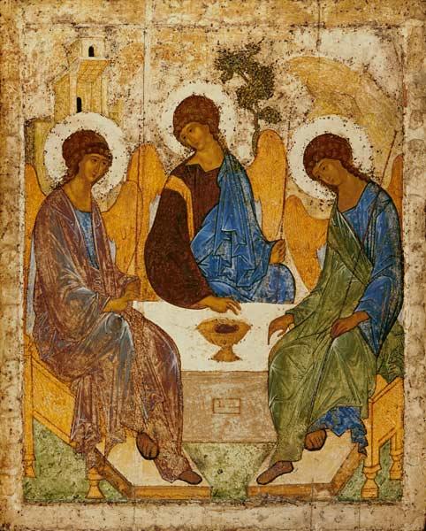 Santa Trinita - tempera su legno di Andrej Rublev riproduzione ...